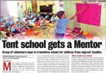 Mentor India at Brindavan Tent School - Bangalore Mirror